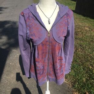 Free People Purple Zip up Hooded Jacket